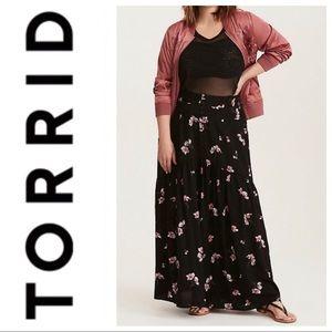 Torrid black floral challis maxi skirt